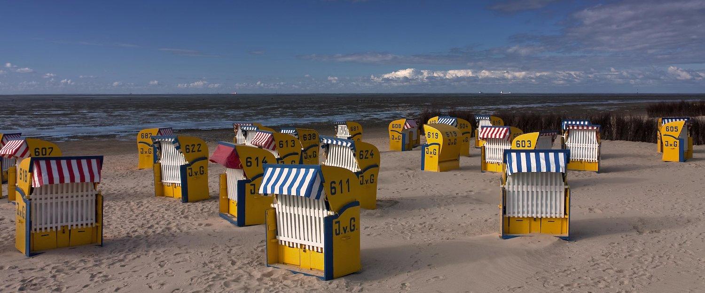 Strandkörbe am Strand der Nordsee