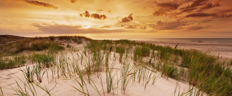 Malowniczy zachód słońca na plaży