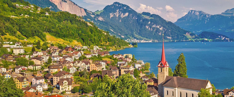 Village in Switzerland on Lake Lucerne