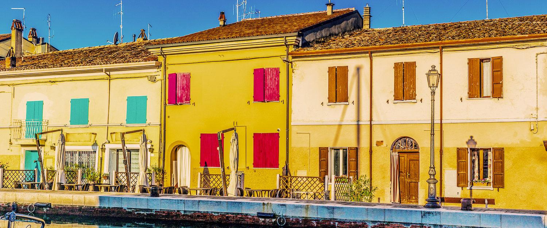 Alter Häuser am Leonardischen Kanal in Cesenatico