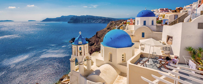 Blue dome Kirchen von Santorin, Griechenland