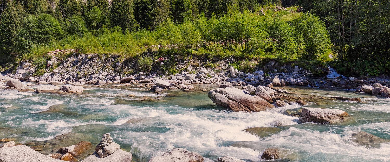 Flussufer in der Nähe von Hochkrimml