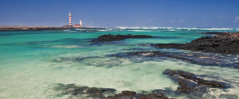 Leuchtturm Faro de Tostón an der Westküste von Fuerteventura