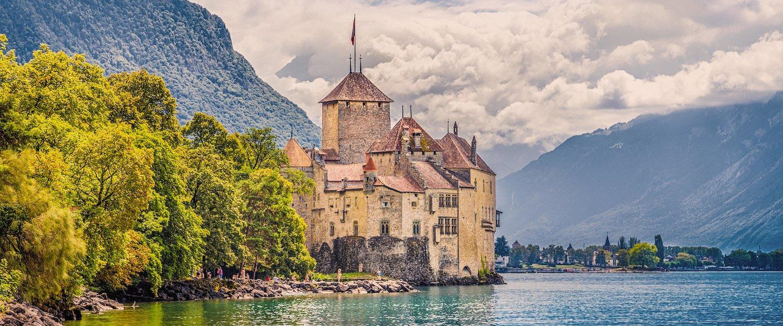 Castello di Chillon a Veytaux, sul Lago di Ginevra.