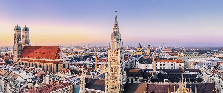 München, de hoofdstad van Opper-Beieren, van bovenaf gezien