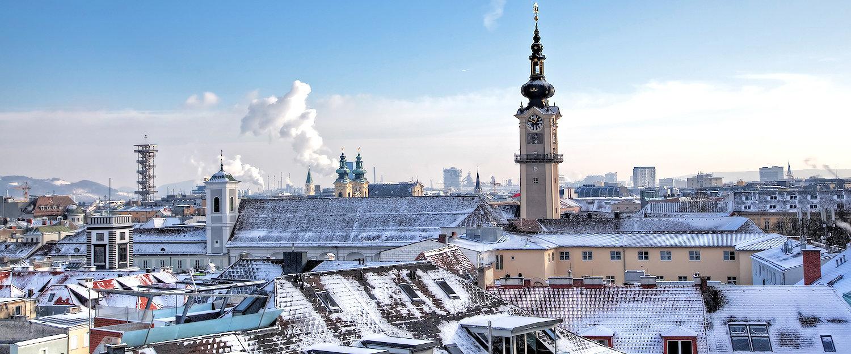 Uitzicht op de stad met kasteel Linz