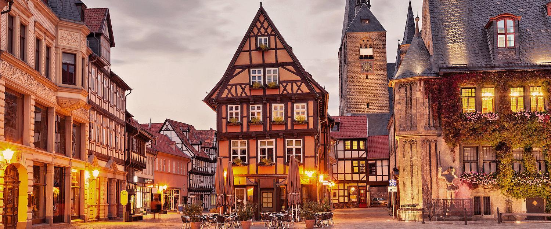 Marktplatz in der Altstadt von Quedlinburg