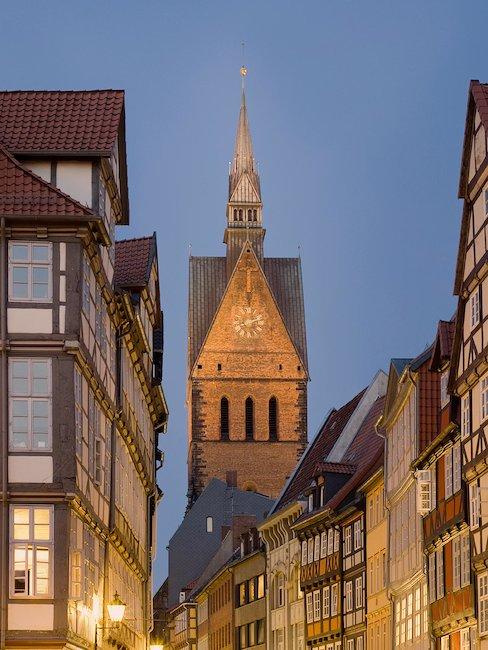 De marktkerk in de oude binnenstad van Hannover