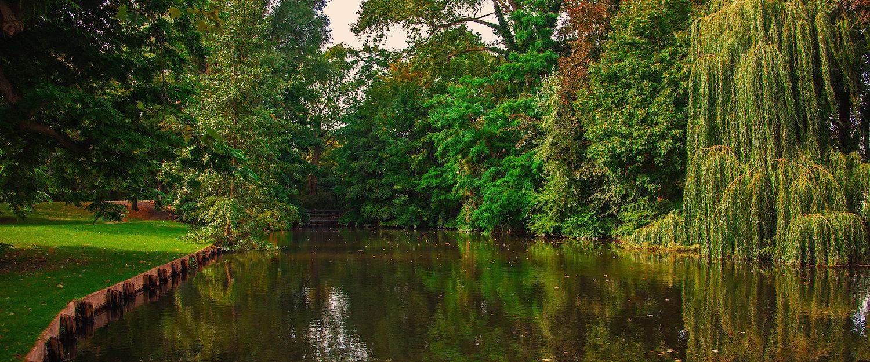 Herrlicher Park mit Wasserkanal
