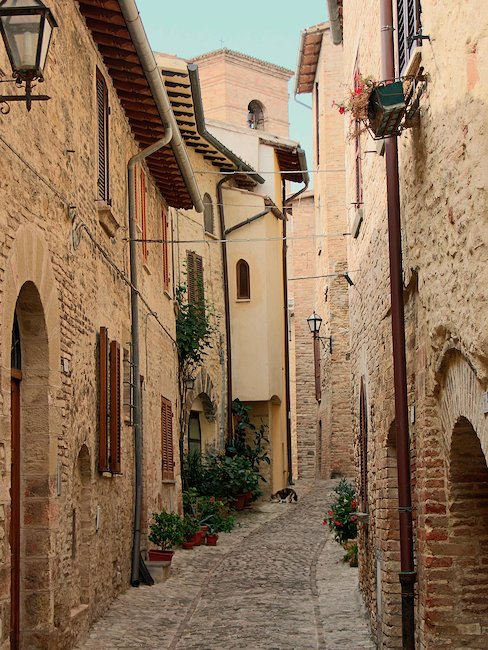 Typical lane of an old town in Umbria