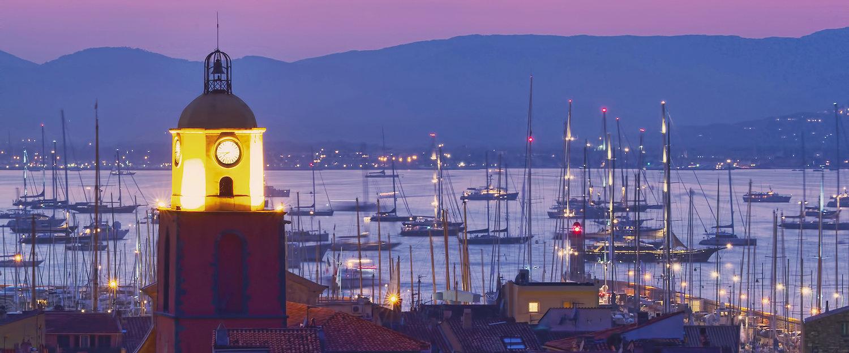 Sonnenuntergang am Hafen von Saint-Tropez