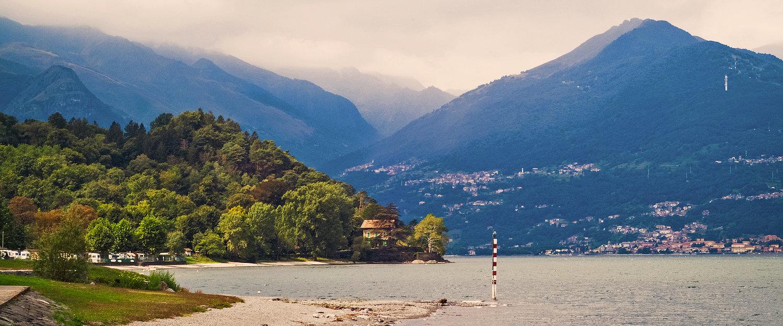 Vista sul Lago di Como da Colico, provincia di Lecco.