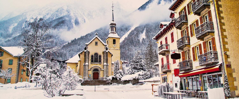 Kerk in het skigebied van Chamonix