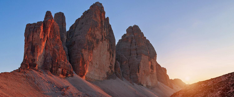 Die Drei Zinnen bei Sonnenuntergang