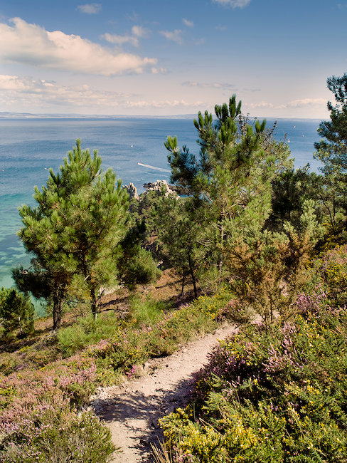 Dromerig uitzicht vanaf het eiland Crozon tot aan de zee