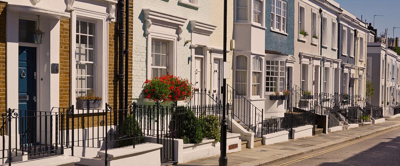 Typische englische Hausfassaden
