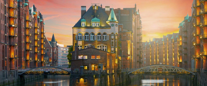 Die berühmte Speicherstadt an der Elbe