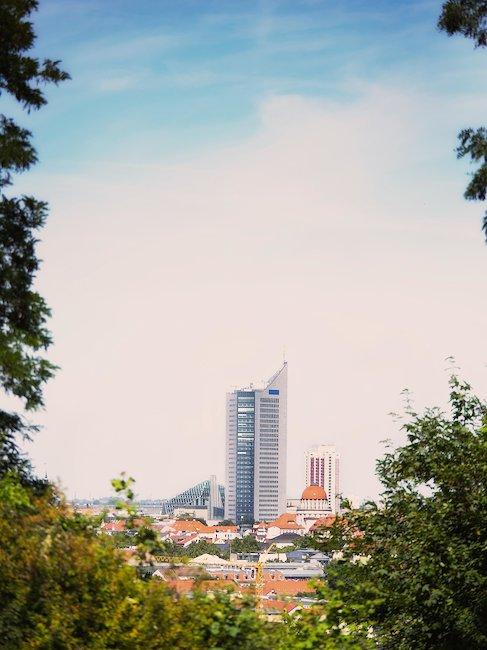 De skyline van Leipzig