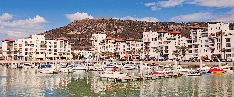 Blick auf die Agadir Kasbah mit Marina