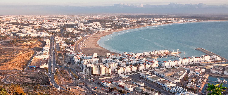 Blick auf die Stadt Agadir in Marokko
