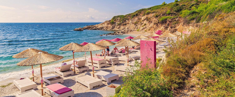 View on beach of Proteas Bay on Samos