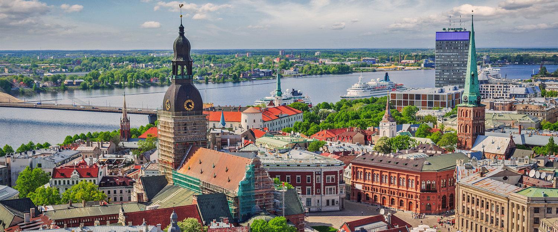 De hoofdstad van Letland van bovenaf