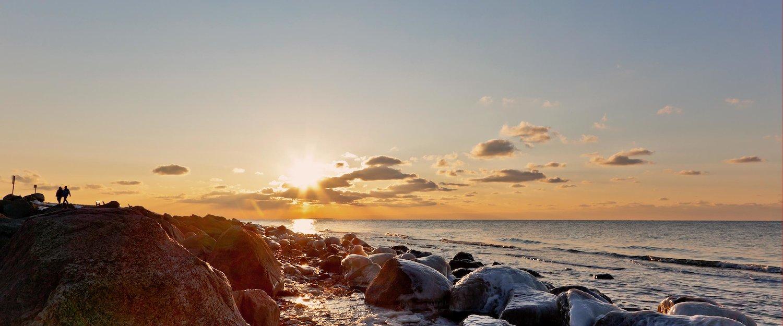 Der Sonnenuntergang auf der Insel Fehmarn.