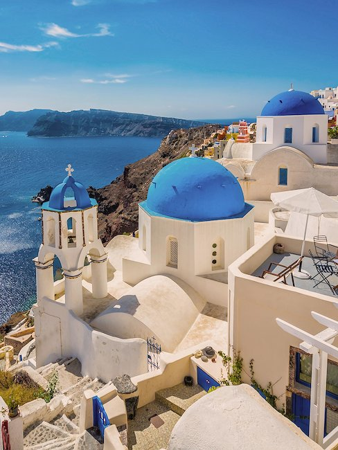 Typical for Greece: white houses with blue roofs