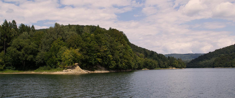 Zalesione zbocza nad jeziorem Solińskim
