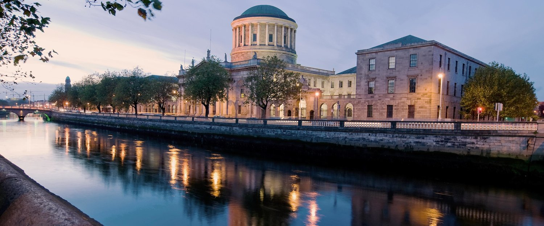 The River Liffey flows calmly through the centre of Dublin.