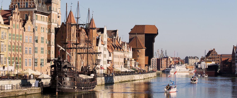 Hafen der Altstadt von Danzig mit dem Krantor