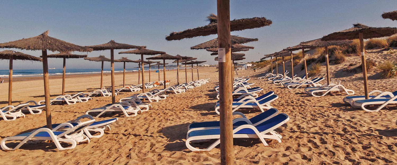 Playa de La Barrosa en los alrededores de Roche